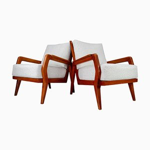 Mid-Century Armlehnstühle aus Eschenholz und Boucle, 1950er, 2er Set
