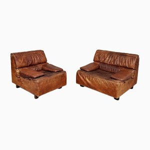 Mid-Century Danish Leather Modular 2-Piece Sofa Set