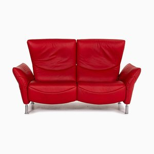 Model Ds 145 Red Leather Two-Seater Sofa from de Sede
