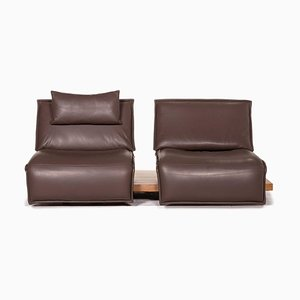 Free Motion Dark Brown Leather Two-Seater Sofa from Koinor