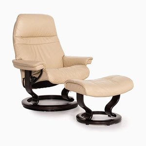 Sunrise Cream Leather Armchair and Stool from Stressless, Set of 2