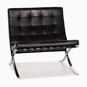 Chaise Barcelona en Cuir Noir de Knoll International