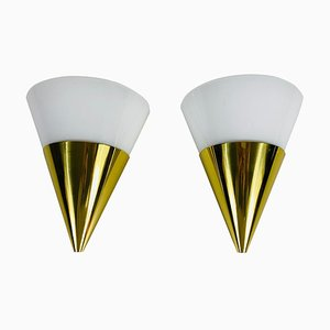 Modernist Brass and Opaline Glass Wall Lamps from Limburg, 1980s, Set of 2