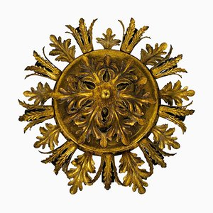 Large Brass Florentine Flower Shape Flush Mount from Banci, 1950s