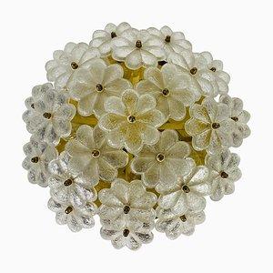 Golden Gilt Brass and Crystal Glass Flush Mount by Ernst Palme, 1960s