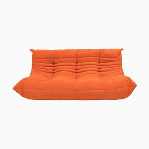 Large Mid-Century Togo orange Sofa by Michel Ducaroy for Ligne Roset