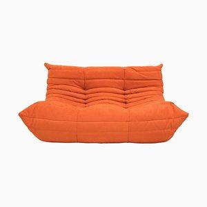 Canapé Togo Orange Mid-Century par Michel Ducaroy pour Ligne Roset
