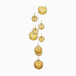 Lámpara de araña en cascada grande con 9 cuencos de cristal de Murano ámbar, años 60
