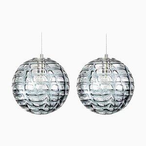 Lampade a sospensione in vetro di Murano grigio, anni '60, set di 2