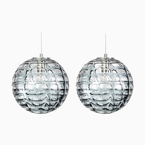Lámparas colgantes de cristal de Murano gris, años 60. Juego de 2