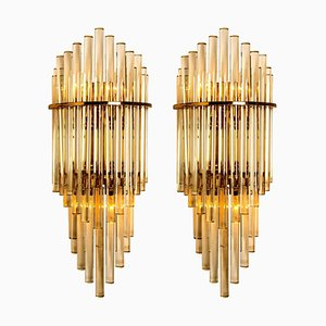 Large Glass Rod Waterfall Wall Sconces by Sciolari for Lightolier