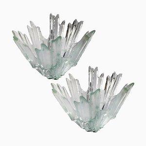 Candelabros o cuencos de cristal de hielo de Tauno Wirkkala para Humppila, años 60. Juego de 2