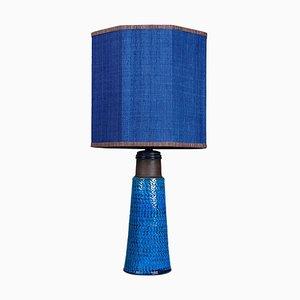 Lampada da tavolo in ceramica di Bitossi con paralume in seta di René Houben, anni '60