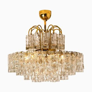 Five-Tier Blown Glass and Brass Chandelier from Doria, 1960