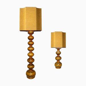 Lampade grandi in ceramica con paralumi in seta di René Houben, set di 2