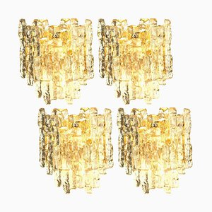 Ice Glass Wall Sconce with 2 Tiers by J.T. Kalmar, 1970s