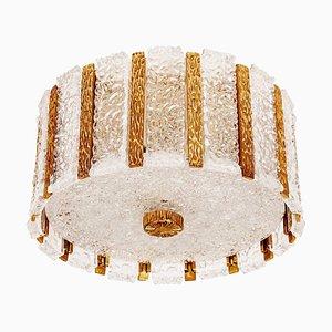 Plafón de tambor chapado en oro y cristal hielo de JT Kalmar, años 60