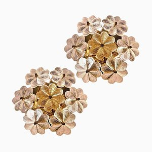 Glass and Brass Floral Wall Lights from Ernst Palme, 1970s, Set of 2