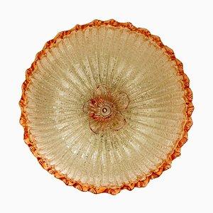 Plafonnier avec Saumon Rose et Verre de Murano Transparent par Barovier & Toso, Italie