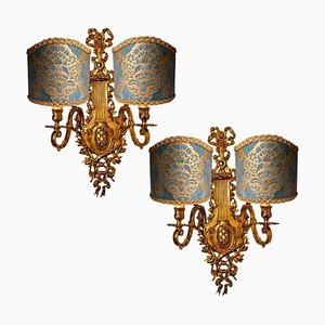Antique French Bronze Wall Sconces, Set of 2