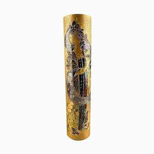 Jarrón grande dorado pintado a mano de Bjorn Wiinblad para Rosenthal, años 60