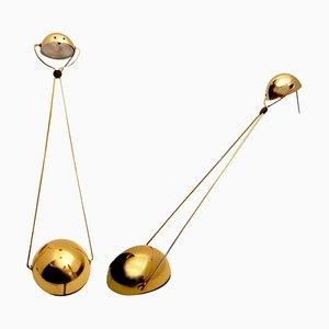Lampade da tavolo alogene placcate in oro di Stefano Cevoli, anni '80, Italia, set di 2