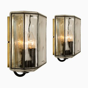 Iron and Bubble Glass Wall Lamps from Glashütte Limburg, Germany, 1960s