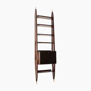 Bookcase in Veneered Wood & Brass, Italy, 1950s