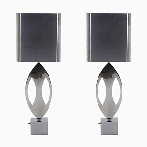 Almond Lamps in Stainless Steel from Maison Charles, 1970s, Set of 2