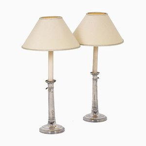 Empire Candlesticks in Silvered Bronze, Set of 2