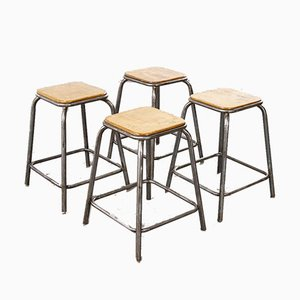 Industrial French Stacking High Stools from Mullca, 1950s, Set of 4