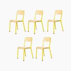Sedie da scuola impilabili gialle, anni '60, set di 5
