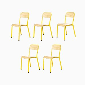 Yellow Framed Stacking School Chairs, 1960s, Set of 5