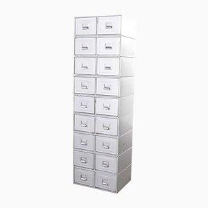 Tall Grey Metallic Filing Boxes, 1960s, Set of 9