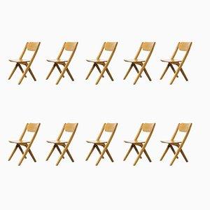 Chaises de Salon Empilables en Hêtre de Bombenstabil, 1960s, Set de 10