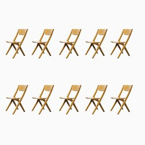 Stacking Beech Dining Chairs from Bombenstabil, 1960s, Set of 10
