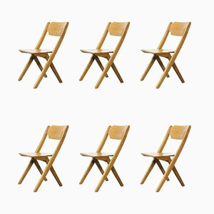 Stacking Beech Dining Chairs, Bombenstabil, 1960s, Set of 6