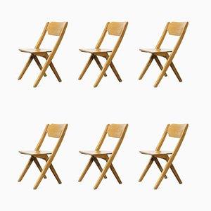 Stapelbare Esszimmerstühle aus Buche, Bombenstabil, 1960er, 6er Set