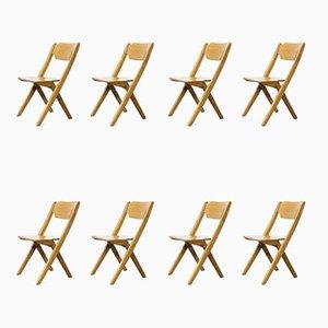 Stapelbare Esszimmerstühle aus Buche, Bombenstabil, 1960er, 8er Set