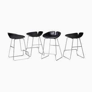 Fjord Black Leather Barstools by Patricia Urquiola, Set of 4