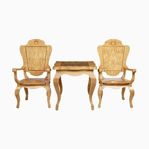 20th Century Burr Birch Game Table and Armchairs, Set of 3