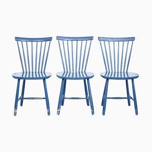 Chaises de Salon 19ème Siècle Peintes, Suède, Set de 3