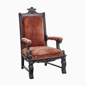 Viktorianischer Thron Stuhl aus Eichenholz, 19. Jh
