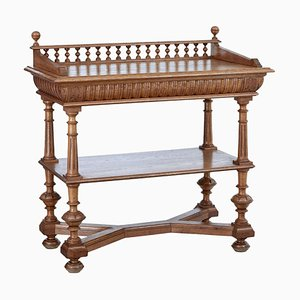 Late 19th Century Victorian Carved Oak Washstand