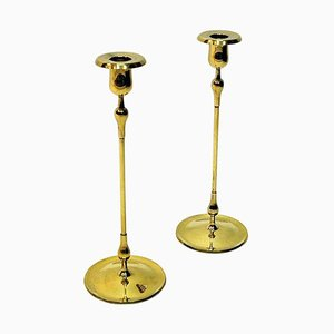 Brass Candlesticks by Gunnar Ander for Ystad Metall, Sweden, 1950s, Set of 2