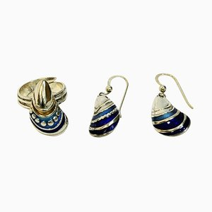 Enameled Jewelry Set by Birgitta Holmgren, Gothenburg, Sweden, 1990s