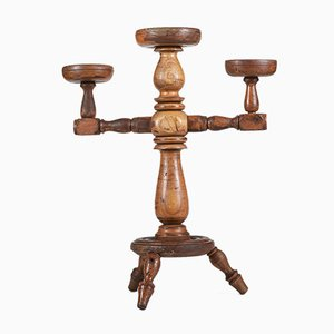 Wooden Trestle Candle Holder, 1900s, Italy