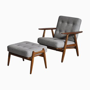 Model GE-240 Lounge Chair & Ottoman Set in Oak & Teak by Hans J. Wegner, 1950s