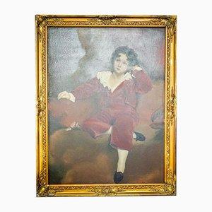 Pittura raffigurante una grande bambina raffigurante una pulce ad olio