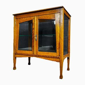 Antique Tea Cabinet with Glass Shelf, 1930s